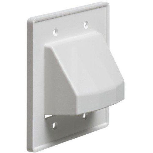 Arlington CE2-1 Recessed Low Voltage Cable Plate, 2-Gang, White, 1-Pack