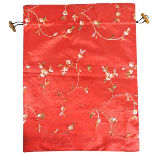 Wrapables Beautiful Embroidered Silk Travel Bag For Lingerie And Shoes, Red