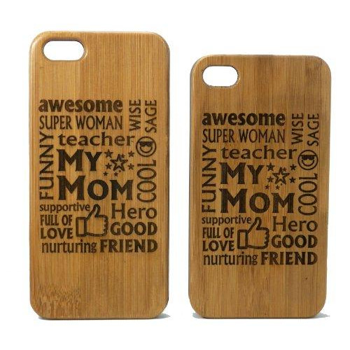 Awesome Mom iPhone 5 5S Case Cover. Mother Gift on Eco-Friendly Bamboo Wood. Moms Mommy Woman Wife Birthday Mother's Day Gift.