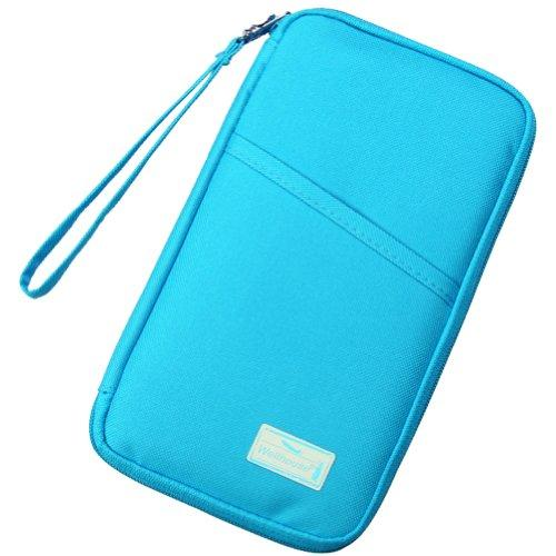 Mygreen Multi-purpose Holder Travel Organizer Bag for Passport Credit Id Card Cash and More with Candy Color (blue)