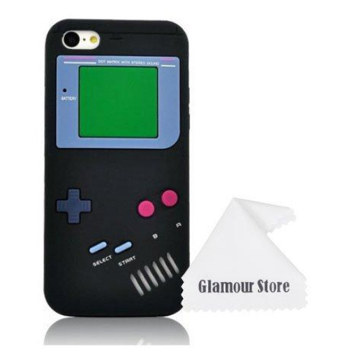 iPhone 6 Case,Retro 3D Game Boy Gameboy Design Style Soft Silicone Cover Case For New Apple iPhone 6 6G 4.7 inch,Not Fit For Apple iPhone 6 Plus 5.5 inch+ Free Cleaning Cloth As a gift (Black)