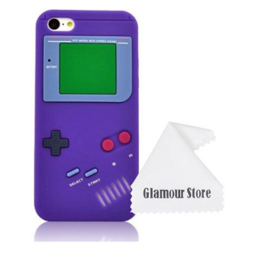 iPhone 6 Case,Retro 3D Game Boy Gameboy Design Style Soft Silicone Cover Case For New Apple iPhone 6 6G 4.7 inch,Not Fit For Apple iPhone 6 Plus 5.5 inch+ Free Cleaning Cloth As a gift (Purple)