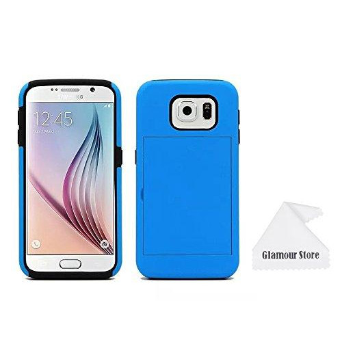 Samsung Galaxy S6 Case,New ID Credit Card Holder Hard Case Back Cover For New Samsung Galaxy S6 With A Free Cleaning Cloth As a Gift,Not Fit For Samsung Galaxy S6 Edge (Blue)