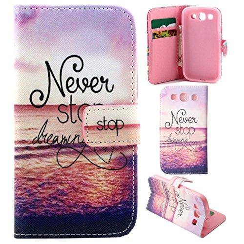 S3 Case, S3 Wallet Case, Galaxy S3 Flip Case,Gift_Source - Never Stop Dreaming Pattern [Stand Feature] Case Wallet [Wallet S] Premium Wallet Case Flip Cover for Samsung Galaxy S3 III i9300 +1X Screen Protector and Stylus Pen
