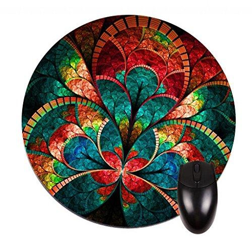 Stained Glass Flower Petals Round Mouse pad - Stylish, durable office accessory and gift