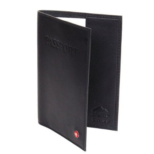Alpine Swiss Genuine Leather Passport Cover - Black A Great way to Protect your Passport and your Privacy