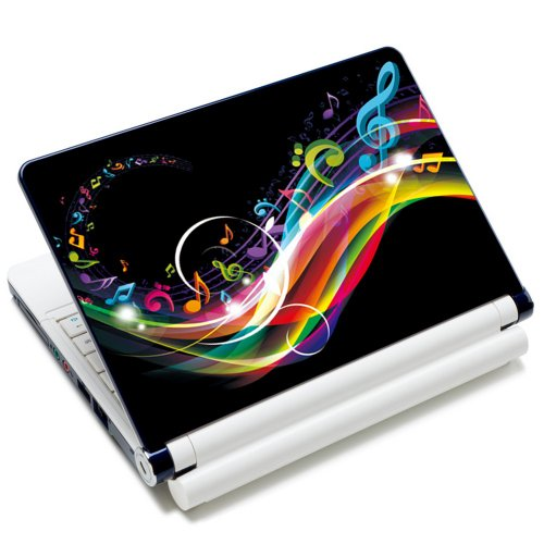 Meffort Inc 17 17.3 inch Laptop Skin Sticker Cover Art Decal Fits 16 17 18 19 Notebook PC (Free Wrist Pad) - Rainbow Music Note Design