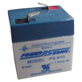 Powersonic PS-610 - 6 Volt/1 Amp Hour Sealed Lead Acid Battery with 0.187 Fast-on Connector