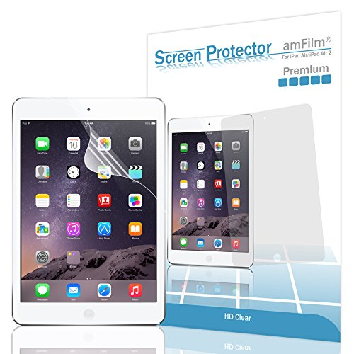 iPad Air Screen Protector, amFilm® Screen Protector for Apple iPad Air 2, iPad Air, iPad 5 and iPad 6 Premium HD Clear (Invisible) with Lifetime Warranty (2-Pack) [in Retail Packaging]
