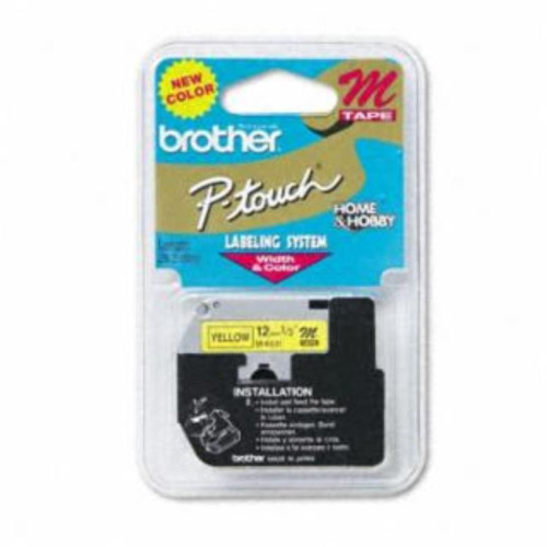 "BROTHER BR 1/2"" M TAPE 12MM BLACK ON YELLOW"