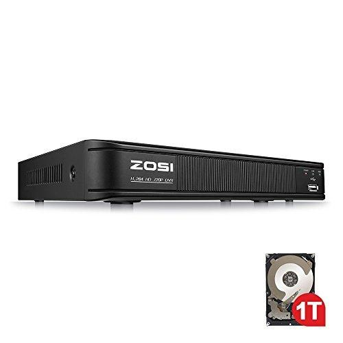 ZOSI 8 Channel HD-TVI 1080P Lite Video Surveillance 4in1 DVR, P2P Technology, QR Code Scan Remote Access,Motion Detection,1TB Hard Disk Built-in