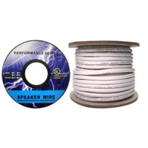 Speaker Cable, White, Pure Copper, Cm / In-Wall Rated, 14/2 (14 Awg 2 Conductor), 105 Strand / 0.16Mm, Spool, 50 Foot