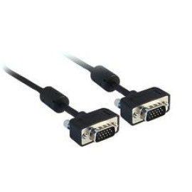 Slim Svga Cable With Ferrites, Black, Hd15 Male, Coaxial Construction, 32 Awg, 25 Foot