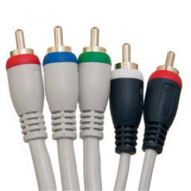 High Quality Component Video And Audio Rca Cable, 3 Rca (Rgb) And 2 Rca (Right And Left) Male, Gold-Plated Connectors, 25 Foot