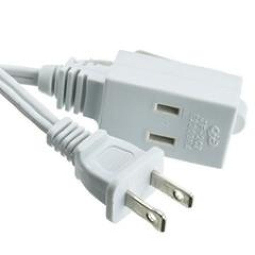 9Ft 3 Outlet Power Extension Cord, Ul/Csa White 16/2