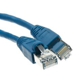 Shielded Cat6A Blue Ethernet Patch Cable, Snagless/Molded Boot, 500 Mhz, 7 Foot