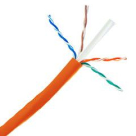 Plenum Cat6A Orange Ethernet Cable, Solid, Cmp, Utp (Unshielded Twisted Pair), 500 Mhz, 23 Awg, Spool, 1000 Foot