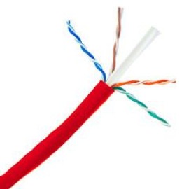 Plenum Cat6A Red Ethernet Cable, Solid, Cmp, Utp (Unshielded Twisted Pair), 500Mhz, 23 Awg, Spool, 1000 Foot