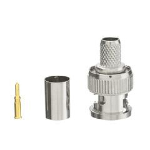Bnc Male Crimp Connector For Rg6, 3 Piece