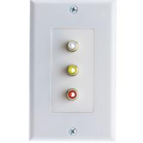 Wall Plate, White, 3 Gold Plated Rca Female To Solder Type (Red, White And Yellow)