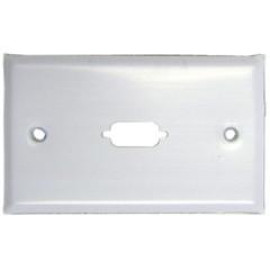 Wall Plate, White, 1 Port Fits Db9 Or Hd15 (Vga), Painted Stainless Steel