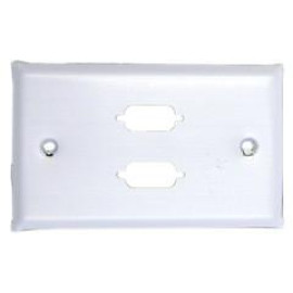 Wall Plate, White, 2 Port Db9 / Hd15 (Vga), Single Gang, Painted Stainless Steel