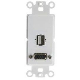 Decora Wall Plate Insert, White, Vga Coupler And Usb Type A Coupler, Hd15 Female And Usb Type A Female