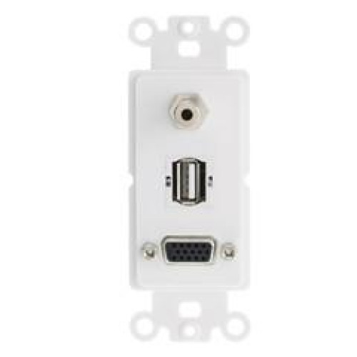 Decora Wall Plate Insert, White, Vga Coupler, 3.5Mm Stereo Jack And Usb Type A Coupler, Hd15 Female, 3.5Mm Female And Usb Type A Female