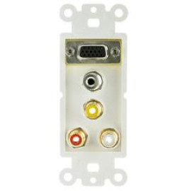 Decora Wall Plate Insert, White, With 1 Vga, 3.5Mm Stereo And 3 Rca (Red/White/Yellow) Female Couplers