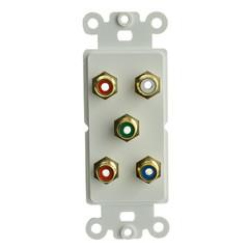 Decora Wall Plate Insert, White, 5 Rca Couplers (Component Red, Green, Blue (Y/Pr/Pb) + Red/White), Rca Female