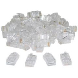 Cat5 Rj45 Crimp Connectors For Solid And Stranded Cable, 8P8C, 100 Pieces (Not For Data Network)