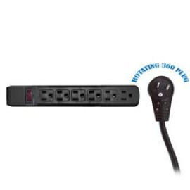 Surge Protector, Flat Rotating Plug, 6 Outlet, Black Horizontal Outlets, Plastic, Power Cord 15 Foot