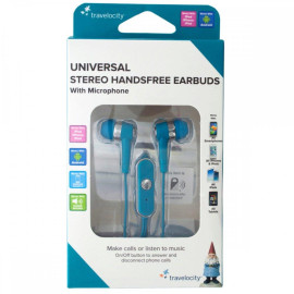 Blue Travelocity Universal Stereo Handsfree Earbuds