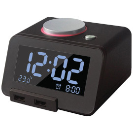 Homtime C1pro Bluetooth Alarm Clock With Dual Usb Chargers (black)