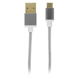 Reviver Mobile 3' USB to MicroUSB Fabric Charge and Sync Braided Cable, Silver