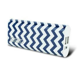 instaCHARGE 8800mAh Dual USB Power Bank Portable Battery Charger Blue Chevron