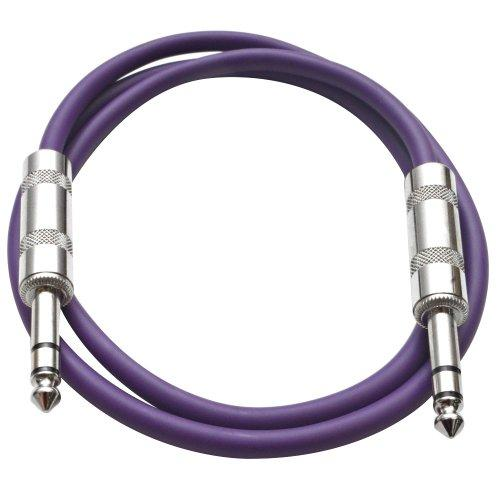 """Seismic Audio - Satrx-3 - Purple 3' 1/4"""" Trs To 1/4"""" Trs Patch Cable"""