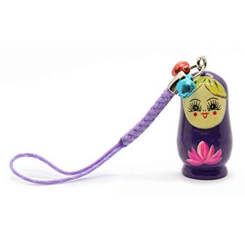 Wooden Cell Phone Charm - Babuszka Doll, 1.5 Inch