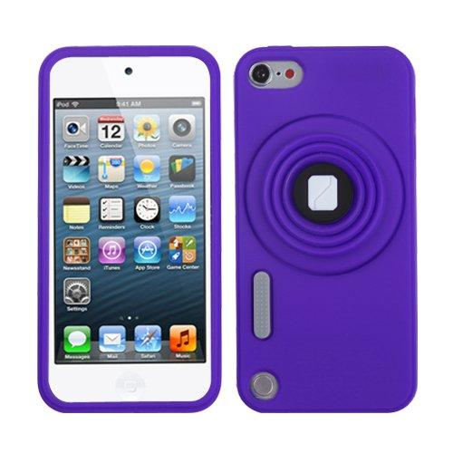 Asmyna Purple Camera Style Stand Pastel Skin Cover With Lanyard For Ipod Touch 5