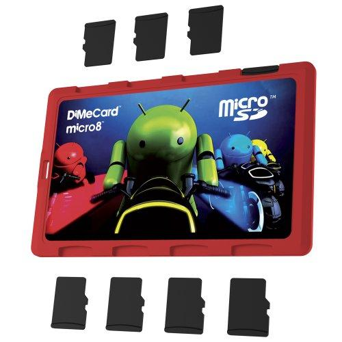 Dimecard Micro8 Microsd Memory Card Holder Android Light Cycle Edition (Ultra Thin Credit Card Size Holder, Writable Label)