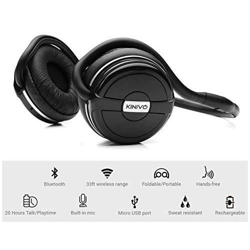Kinivo Bth240 Bluetooth Headphones (Black, On-Ear, Wireless Music, Hands-Free Calling, Built-In Mic, Foldable, Memory Form Earpads, Travel Bag)