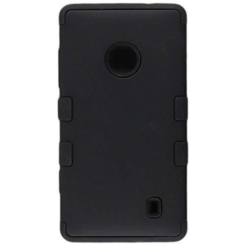 Mybat Hybrid Dual Layer Hard Skin Gel Snap On Protector For Nokia Lumia 521 - Carrying Case - Retail Packaging - Black