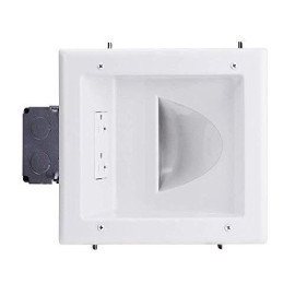 Datacomm Electronics 45-0032-Wh Commercial Grade Recessed Av/Hdmi Cable Conceal Plate With 20 Amp Dual Power Receptacle
