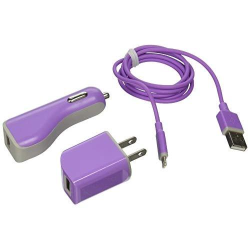 Reiko 3-In-1 Charger With Data Cable For Iphone 5S - Retail Packaging - Purple