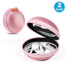 2 Packs Glcon Hard Earphone Case Headphone Organizer - Shockproof Mini Earbud Carrying Case For Airpods - High Protection Small Eva Storage Pouch Bluetooth Earpiece Bag - Lightweight Coin Purse (Pink)