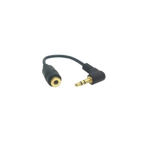 Cy 10Cm 90 Degree Right Angled 3.5Mm 3Poles Audio Stereo Male To Female Extension Cable Black