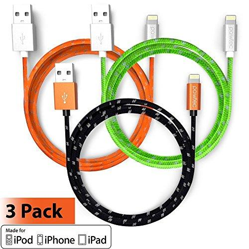 Pawtec [Apple Mfi Certified] Premium Lightning Cable 3.3 Ft/1M Nylon Braided For Iphone 11/11 Pro / 11 Pro Max/Xs/Xs Max/Xr/X / 8/7 / 6S 6, Ipad Pro/Air (3 Color Pack)
