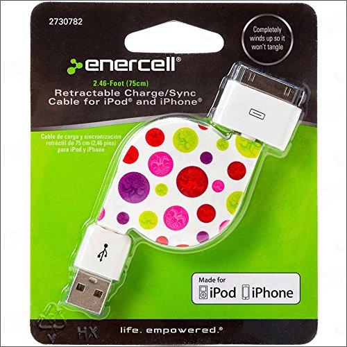 Enercell Dot Usb Retractable Sync/Charge 2.46 Feet Data Cable Usb Charger For 30-Pin Ipad 2 3 Iphone 3G 3Gs 4 4S Ipod Touch Classic Video Nano