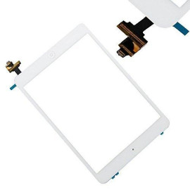 Replacement Screen For White Ipad Mini Touch Screen Digitizer Ic Chip Home Button And Flex Cable Assembly Wifi Or Cellular Or With Retina Display Model# A1432, A1454, A1455, A1489, And A1490