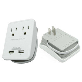 Rnd Compact Power Station 2.4 Amp Dual Usb Ports, 2 Ac Outlet Wall Charger (White)